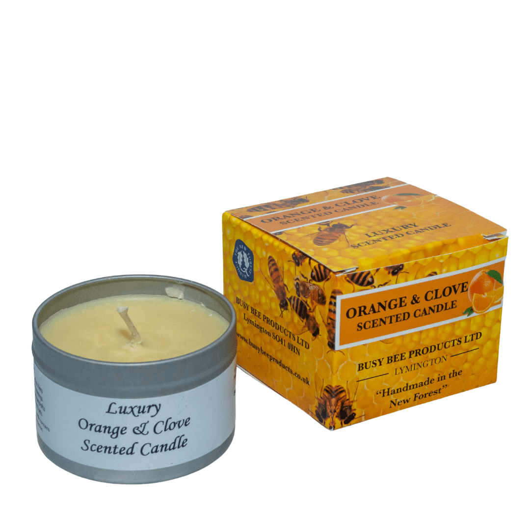 Orange And Clove Scented Candle Busy Bee Products Ltd